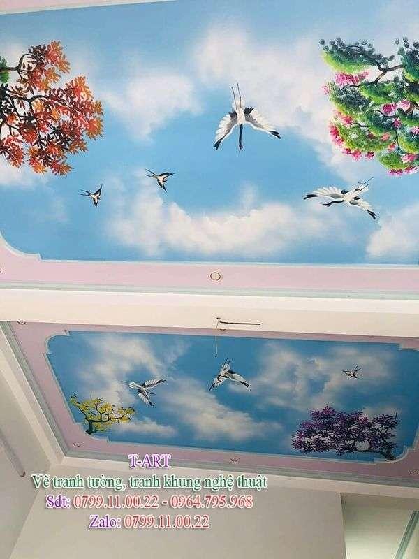 Dịch vụ vẽ tranh tường, vẽ trần mây, vẽ tranh tường giá rẻ, vẽ tranh tường đẹp, vẽ tranh lên trần nhà, vẽ tranh trên trần nhà