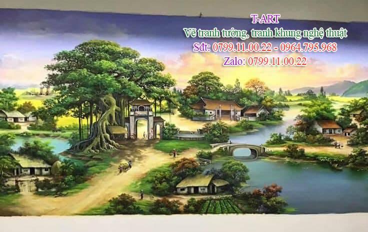 Dịch vụ vẽ tranh tường, vẽ tranh tường phong cảnh, vẽ tranh tường phòng khách, vẽ tranh tường đồng quê, vẽ tranh tường làng quê