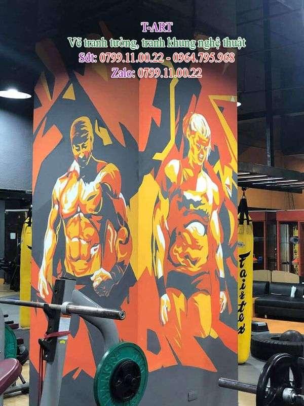 Dịch vụ vẽ tranh tường, vẽ tranh tường thể hình, vẽ tranh tường gym, vẽ tranh tường Yoga, vẽ tranh tường Fitness, vẽ tranh tường phòng tập