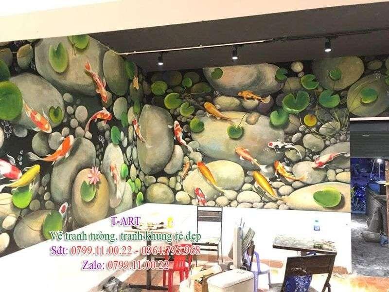 Dịch vụ vẽ tranh tường, vẽ tranh tường phong cảnh, vẽ tranh tường phòng khách, vẽ tranh tường hoa sen, vẽ tranh tường cá chép