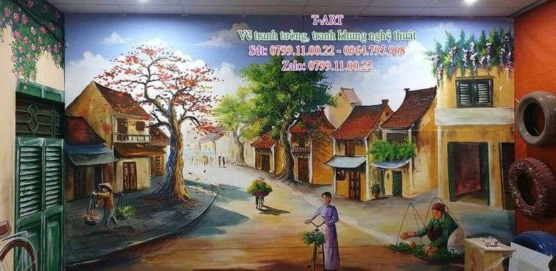 Dịch vụ vẽ tranh tường, vẽ tranh tường phố cổ Hà Nội, vẽ tranh tường phong cảnh, vẽ tranh tường phố cổ Hội An, vẽ tranh tường cafe, vẽ tranh tường quán ăn