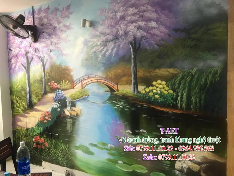 Dịch vụ vẽ tranh tường, vẽ tranh tường phong cảnh, vẽ tranh tường phòng khách