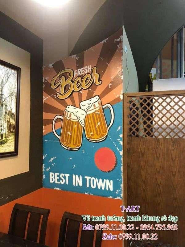 Dịch vụ vẽ tranh tường, vẽ tranh tường nhà hàng, vẽ tranh tường quán ăn, vẽ tranh tường quán Nhậu, Lẩu, Nướng, Bia Hơi, Bún Phở, Buffet, Bar