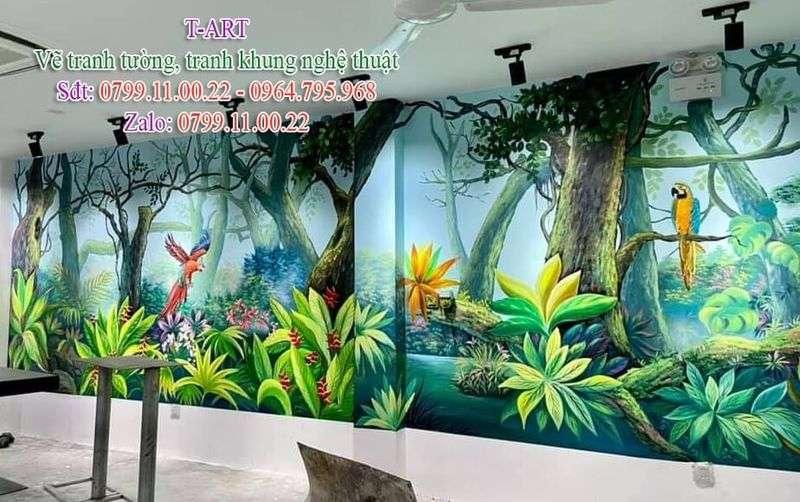 Dịch vụ vẽ tranh tường đẹp giá rẻ, vẽ tranh tường rừng nhiệt đới, vẽ tranh tường hoa lá cành, vẽ tranh tường cafe, vẽ tranh tường quán ăn, vẽ tranh tường spa, vẽ tranh tường phòng ngủ