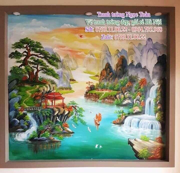 Dịch vụ vẽ tranh tường, vẽ tranh tường phong cảnh, vẽ tranh tường phòng khách, vẽ tranh tường sơn thủy, vẽ tranh tường thuận buồm xuôi gió, vẽ tranh tường phong thủy
